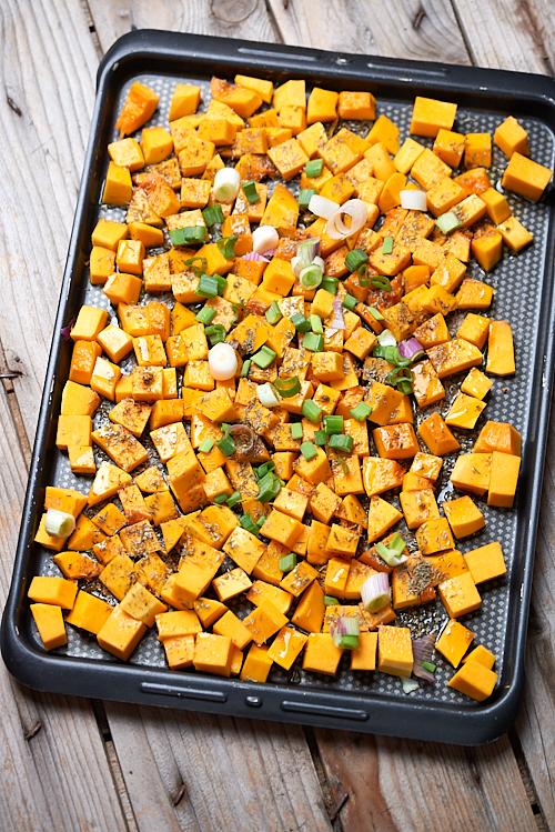 photo culinaire de dés de courge avant cuisson