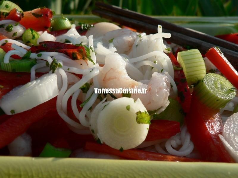 salade crevettes, vermicelles de riz et coriandre