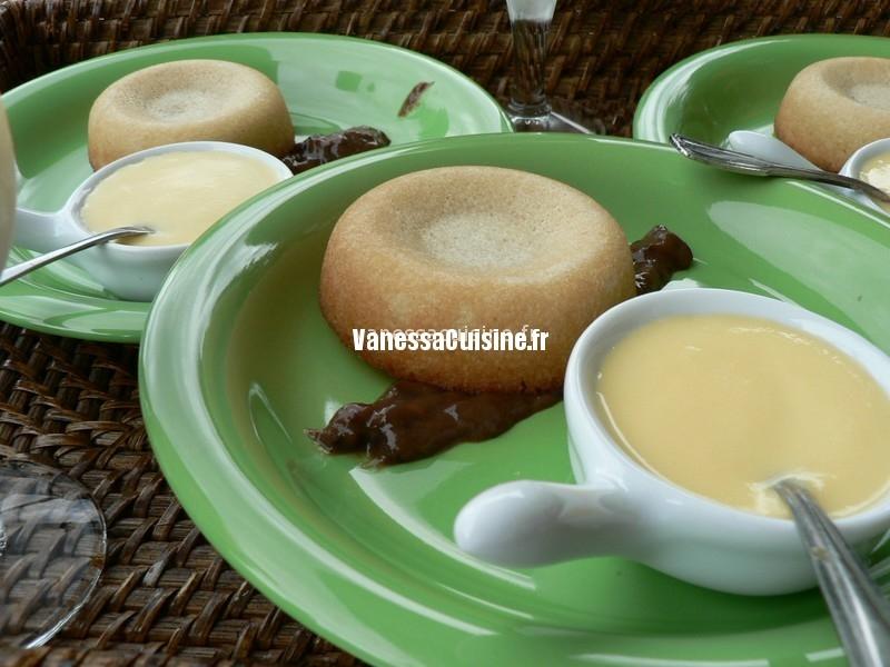 """Tartelette """"financière"""", crème anglaise et confit de pruneau"""