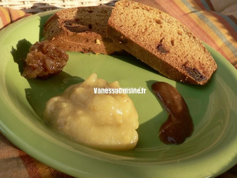 cake maïs, miel de montagne et datte, purée de noisette et confiture minute de datte