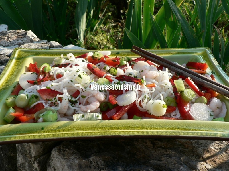 recette de salade de crevette, vermicelle de riz et coriandre