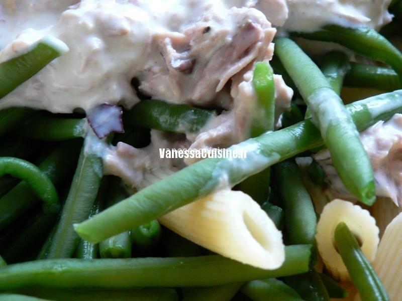 Salade de penne, haricots verts et thon