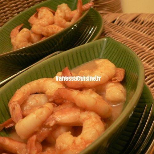 recette de crevettes au caramel et au Grand Marnier