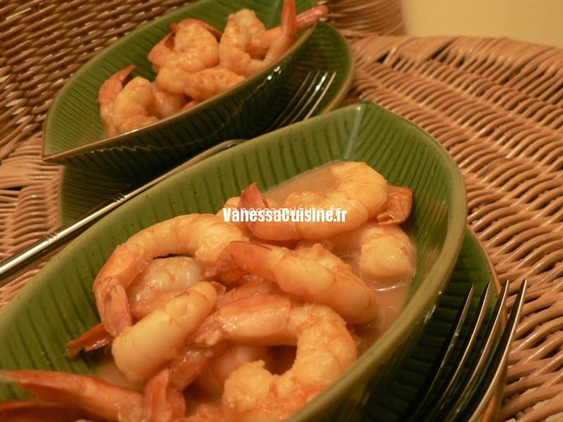 Crevettes au caramel et au Grand Marnier
