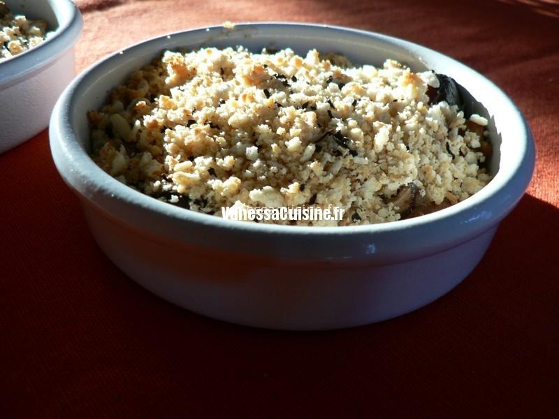 crumble de féta et thé noir aux shiitake