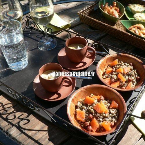 Salade quinoa, lentilles et saumon
