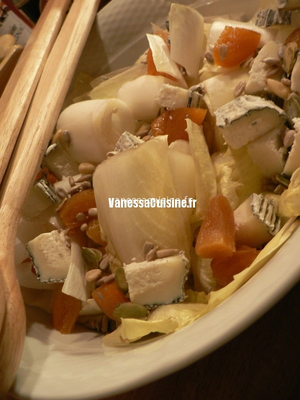 recette de salade d'endives aux abricots secs et chèvre