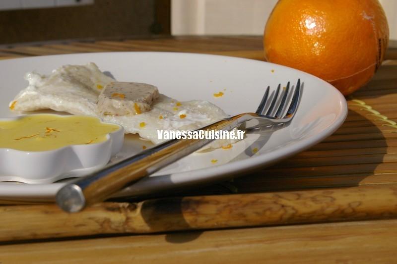Endives orangées et pistaches, filet de loup safrané