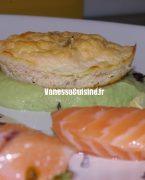 recette de gâteaux de saumon, purée d'avocat au panch phoron