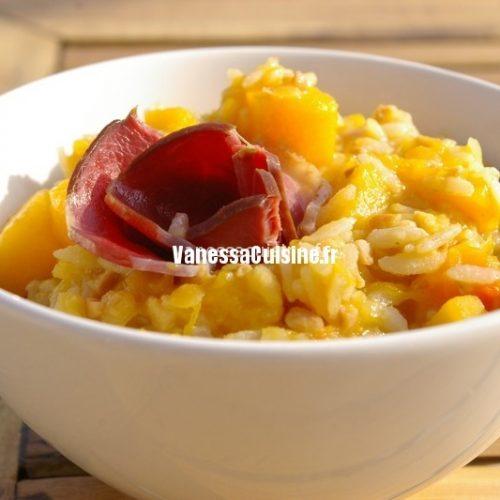 recette de risotto de riz, lentilles et courge