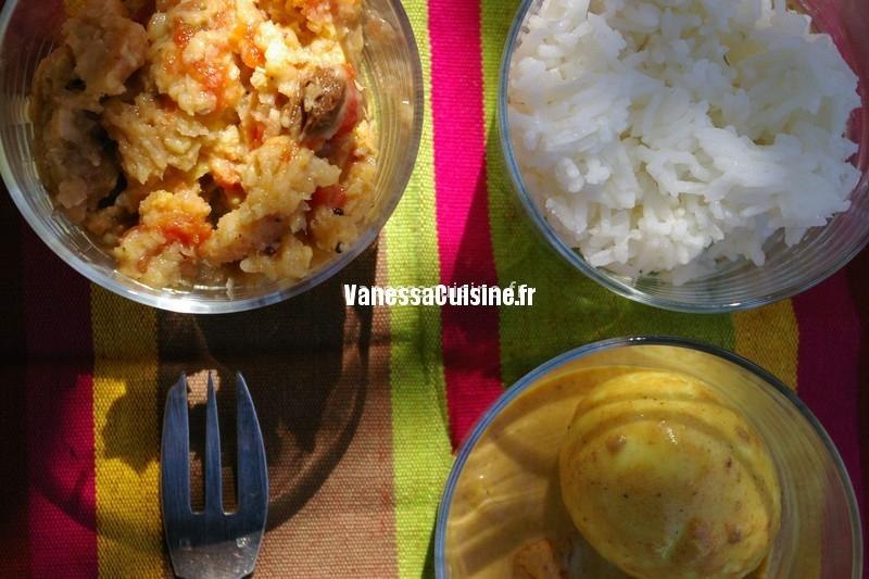 Oeuf masala, dahl de haricot mungo et riz au yaourt,