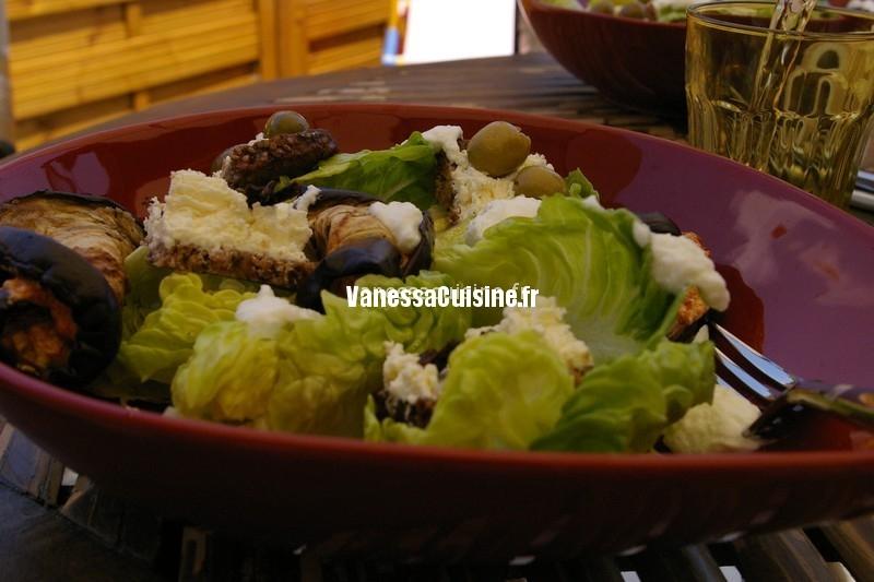 salade du week end, roulés d'aubergines au pesto de tomates