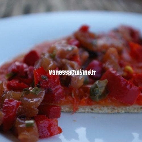 recette de pizza tomate-poivron, tartare de thon