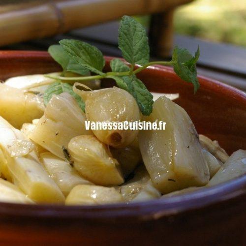 recette d'aubergines blanches marinées à la menthe
