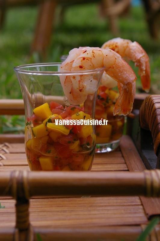 tartares mangue, tomate et coriandre aux gambas, by les frères Pourcel