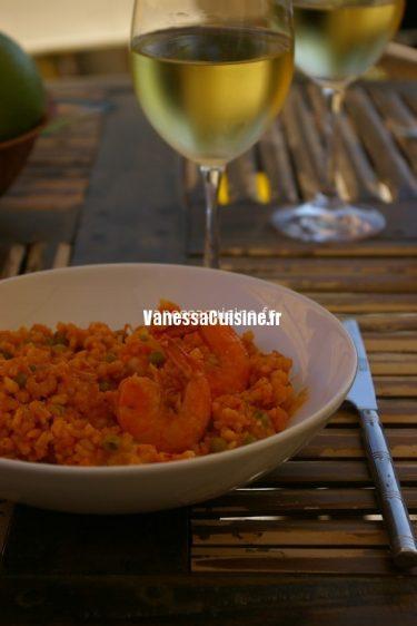 recette de paella rouge aux gambas