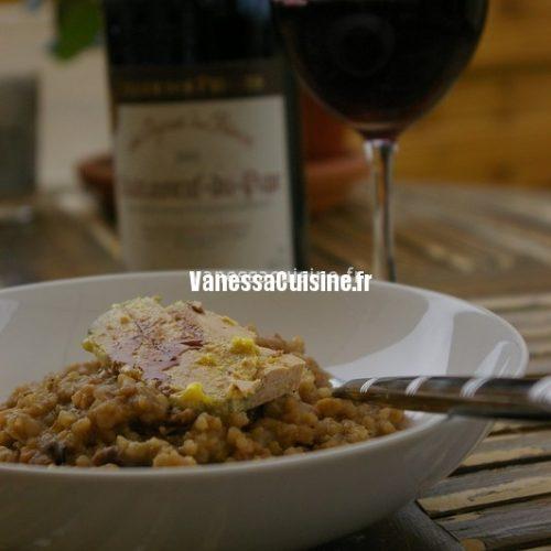 Risotto à la châtaigne, champignons et foie gras