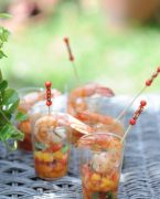 recette de verrines de tomate, mangue, crevettes