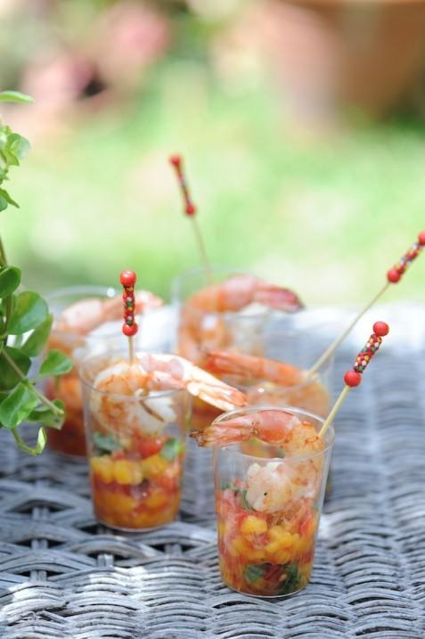 Verrines de mangue, tomate aux gambas, by les frères Pourcel