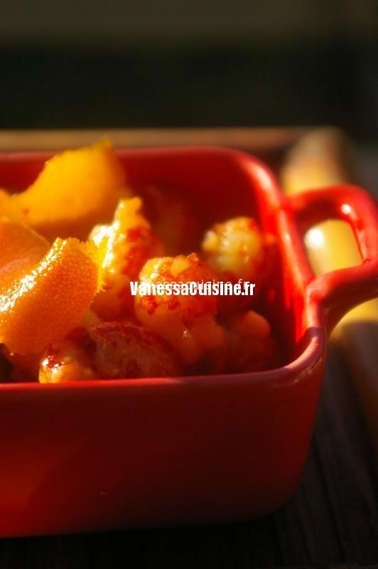 Ecrevisses au caramiel d'orange et gingembre