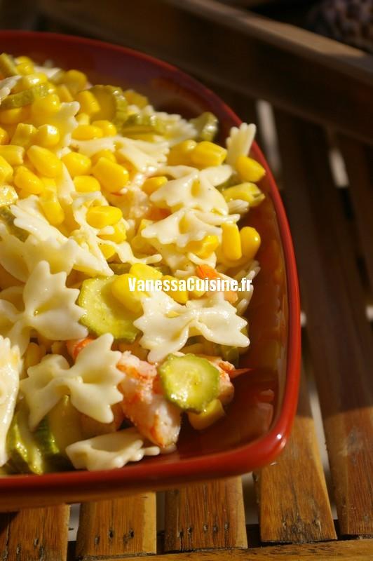 recette de salade de farfalle et maïs