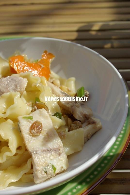 recette de mafaldine à l'espadon, pignons et raisins secs