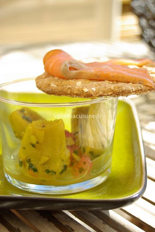 Barigoule d'artichauts au curcuma, saumon en gravlaax, by les frères Pourcel