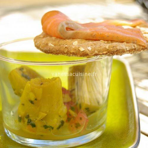 Barigoule d'artichauts au curcuma, saumon en gravlaax
