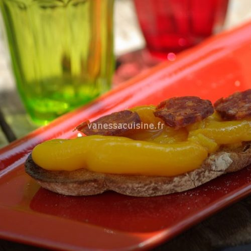 recette de tartines de poivrons grillés et chorizo