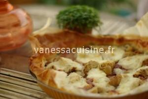 Tarte aux artichauts et au jambon