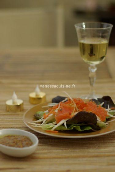 recette desalade de saumon gravlaax, vinaigrette à la passion