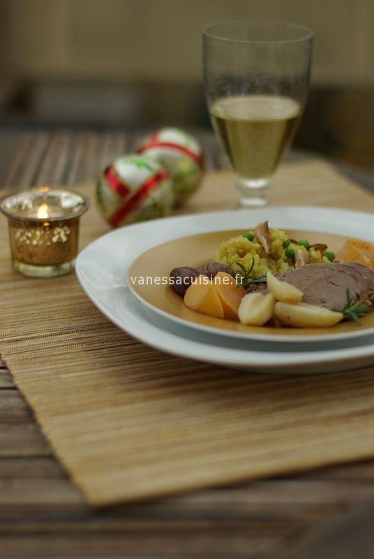 Filet de canard mariné à l'orange et au tamari, légumes oubliés et graines dorées