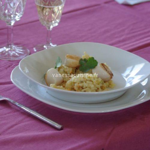 recette de risotto aux noix de saint jacques au lait de coco et à la citronnelle