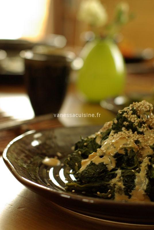recette d'épinards sauce sésame