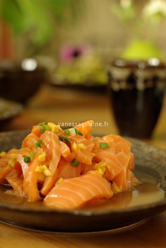 recette de sashimi de saumon mariné