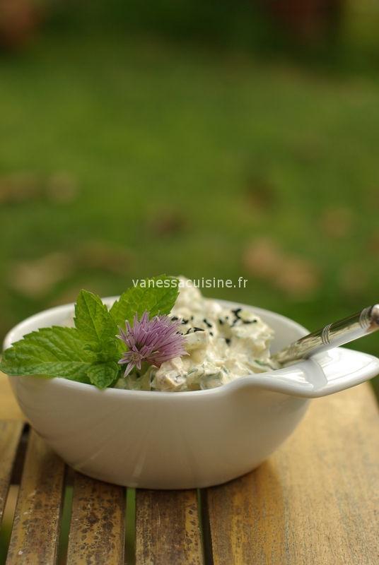 recette de crème de concombre au chèvre et épices