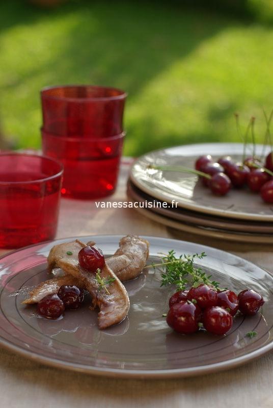 Aiguilettes de canard mariné à la cerise et au vinaigre balsamique au miel