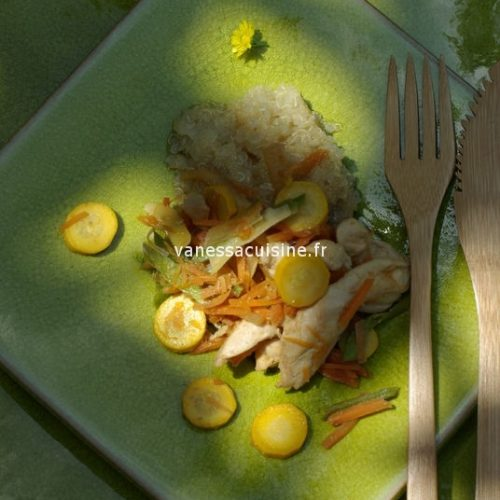 recette de Emincé de poulet mariné aux petits légumes