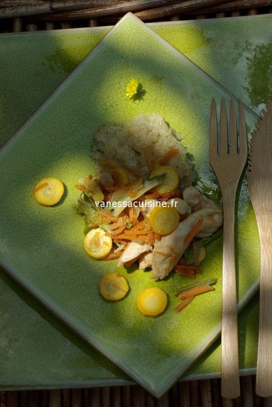Emincé de poulet mariné aux petits légumes