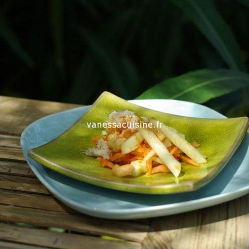 recette de salade de pommes, carottes, crabe et curry