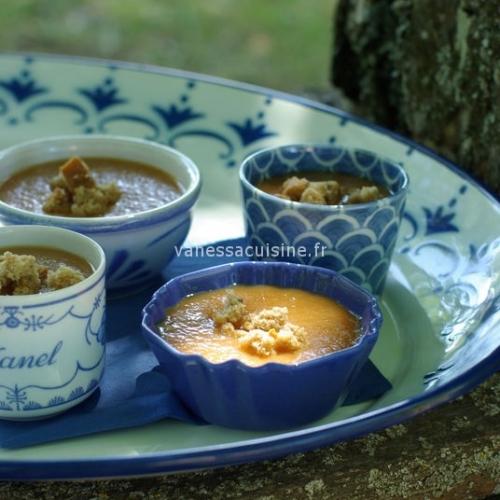 In the Alps, soupe melon, pêches et pain d'épices