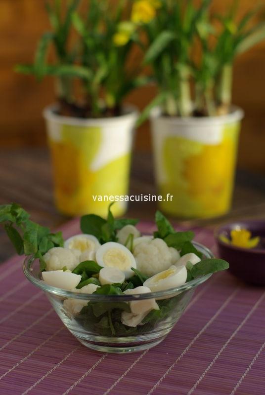 Salade de chou fleur, oeufs de caille et cresson