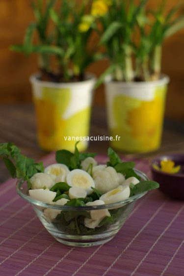 recette de salade de chou fleur, oeufs de caille et cresson