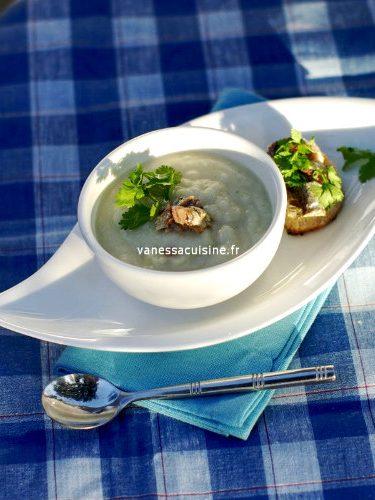 recette de soupe de chou fleur, tartine de sardines