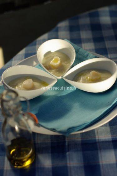 recette de pétoncles et crème de chou fleur à la vanille