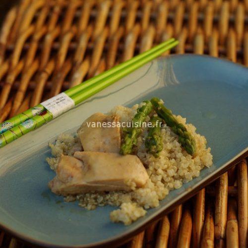 recette de poulet mariné au nuoc mam et tamari, quinoa et asperges