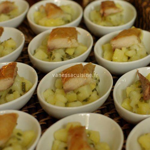 Salade de pommes de terre et maquereau fumé