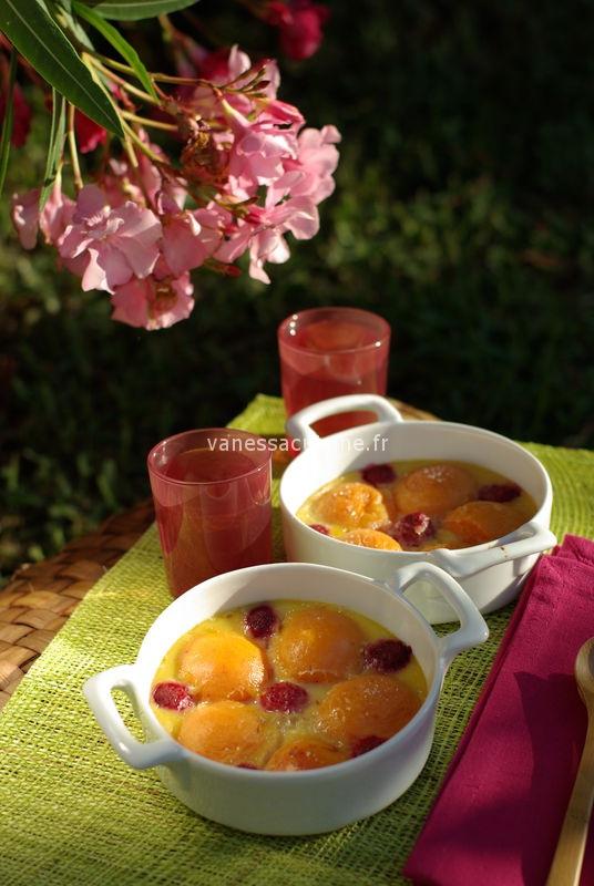 Clafoutis aux abricots et aux framboises