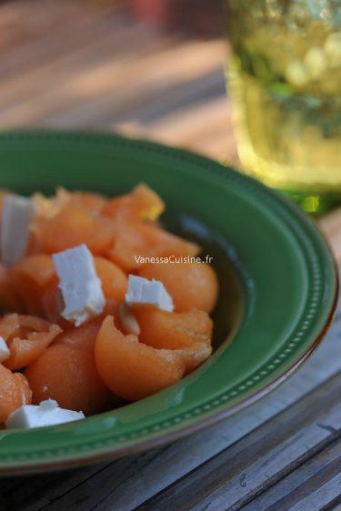 recette de salade de melon, feta et pignons