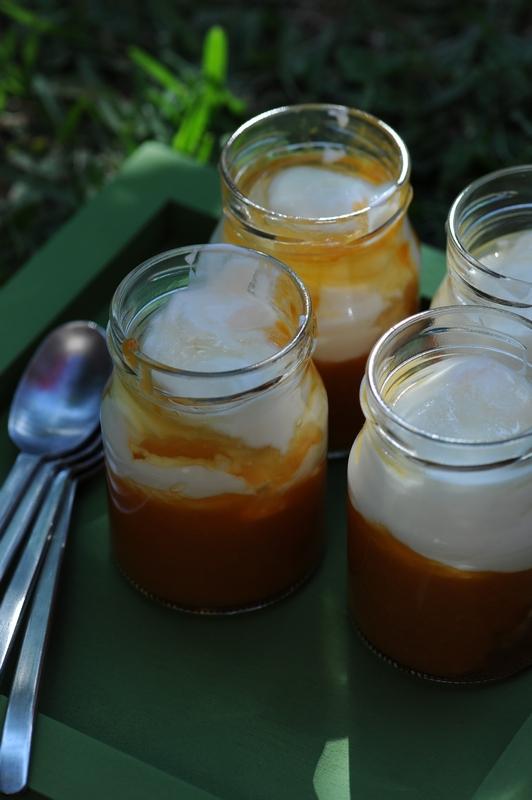 Yaourts aux abricots, miel de citronnier